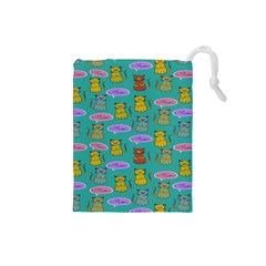 Meow Cat Pattern Drawstring Pouches (small)
