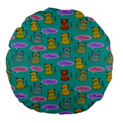 Meow Cat Pattern Large 18  Premium Flano Round Cushions