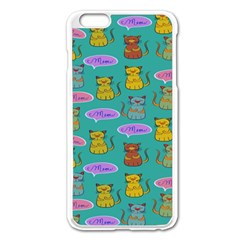 Meow Cat Pattern Apple Iphone 6 Plus/6s Plus Enamel White Case