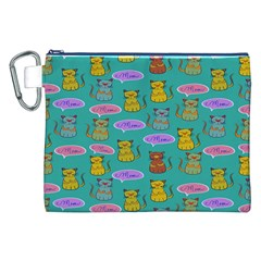 Meow Cat Pattern Canvas Cosmetic Bag (xxl)