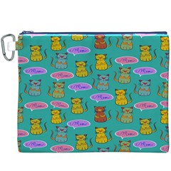 Meow Cat Pattern Canvas Cosmetic Bag (xxxl)