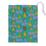 Meow Cat Pattern Drawstring Pouches (XXL) Front