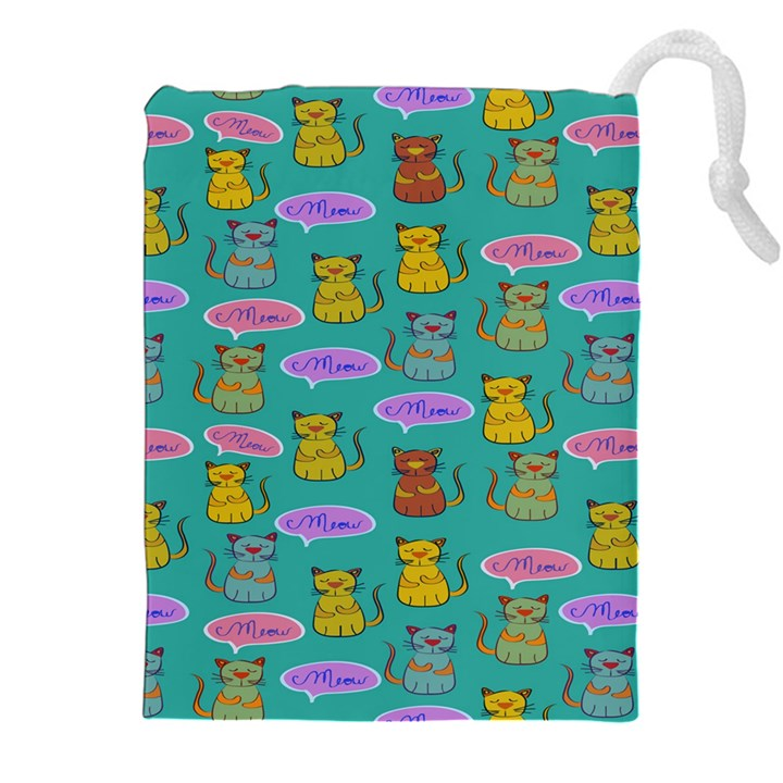 Meow Cat Pattern Drawstring Pouches (XXL)