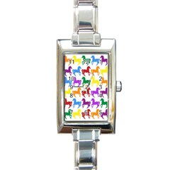 Colorful Horse Background Wallpaper Rectangle Italian Charm Watch