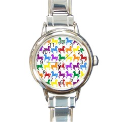 Colorful Horse Background Wallpaper Round Italian Charm Watch
