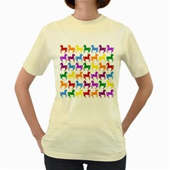 Colorful Horse Background Wallpaper Women s Yellow T-Shirt