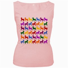 Colorful Horse Background Wallpaper Women s Pink Tank Top