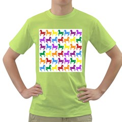 Colorful Horse Background Wallpaper Green T-Shirt