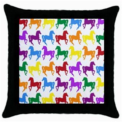 Colorful Horse Background Wallpaper Throw Pillow Case (Black)