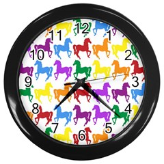 Colorful Horse Background Wallpaper Wall Clocks (black)