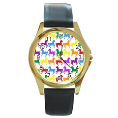 Colorful Horse Background Wallpaper Round Gold Metal Watch