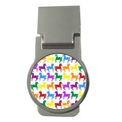 Colorful Horse Background Wallpaper Money Clips (Round)