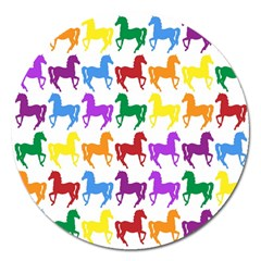 Colorful Horse Background Wallpaper Magnet 5  (round)