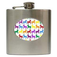 Colorful Horse Background Wallpaper Hip Flask (6 oz)