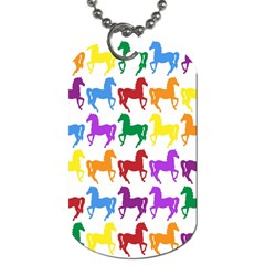 Colorful Horse Background Wallpaper Dog Tag (two Sides)