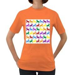 Colorful Horse Background Wallpaper Women s Dark T Shirt