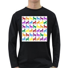 Colorful Horse Background Wallpaper Long Sleeve Dark T Shirts