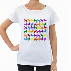 Colorful Horse Background Wallpaper Women s Loose Fit T Shirt (white)