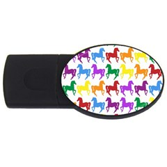 Colorful Horse Background Wallpaper USB Flash Drive Oval (4 GB)