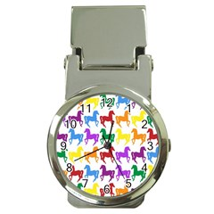 Colorful Horse Background Wallpaper Money Clip Watches