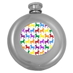 Colorful Horse Background Wallpaper Round Hip Flask (5 Oz)