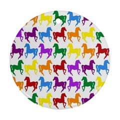 Colorful Horse Background Wallpaper Round Ornament (two Sides)