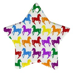 Colorful Horse Background Wallpaper Star Ornament (two Sides)