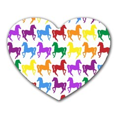 Colorful Horse Background Wallpaper Heart Mousepads