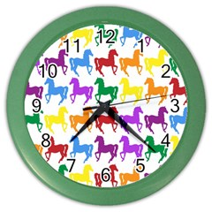 Colorful Horse Background Wallpaper Color Wall Clocks