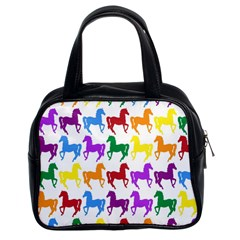 Colorful Horse Background Wallpaper Classic Handbags (2 Sides)