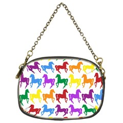 Colorful Horse Background Wallpaper Chain Purses (two Sides)