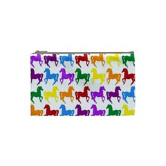 Colorful Horse Background Wallpaper Cosmetic Bag (Small)