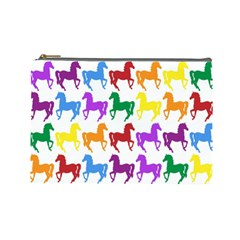 Colorful Horse Background Wallpaper Cosmetic Bag (large)
