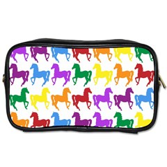 Colorful Horse Background Wallpaper Toiletries Bags 2 Side