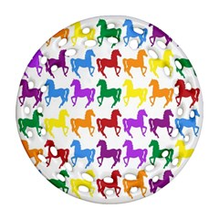 Colorful Horse Background Wallpaper Round Filigree Ornament (two Sides)