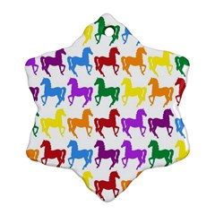 Colorful Horse Background Wallpaper Snowflake Ornament (two Sides)