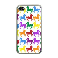 Colorful Horse Background Wallpaper Apple Iphone 4 Case (clear)