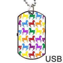 Colorful Horse Background Wallpaper Dog Tag Usb Flash (two Sides)
