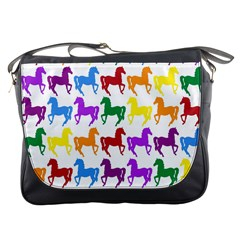 Colorful Horse Background Wallpaper Messenger Bags