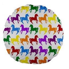 Colorful Horse Background Wallpaper Large 18  Premium Round Cushions