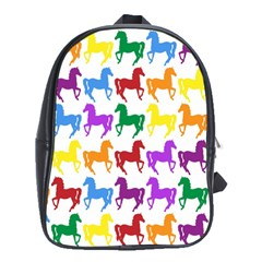Colorful Horse Background Wallpaper School Bags (XL)