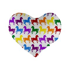 Colorful Horse Background Wallpaper Standard 16  Premium Heart Shape Cushions