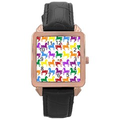 Colorful Horse Background Wallpaper Rose Gold Leather Watch