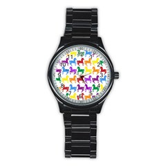 Colorful Horse Background Wallpaper Stainless Steel Round Watch
