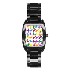 Colorful Horse Background Wallpaper Stainless Steel Barrel Watch