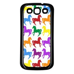 Colorful Horse Background Wallpaper Samsung Galaxy S3 Back Case (black)