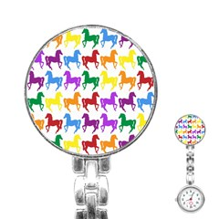 Colorful Horse Background Wallpaper Stainless Steel Nurses Watch