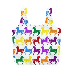 Colorful Horse Background Wallpaper Full Print Recycle Bags (m)
