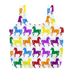 Colorful Horse Background Wallpaper Full Print Recycle Bags (l)