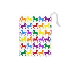 Colorful Horse Background Wallpaper Drawstring Pouches (small)